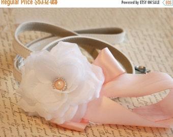 Blush floral Leash, Pet Wedding accessorry,Handmade Floral Dog Leash