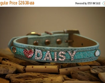 Blue leather dog collar,  Rhinestone Collar with 5  Personalized Rhinestone Letters and  Pink Rhinestone Heart  -  dog Collar