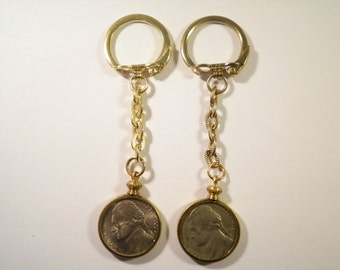 2 Brass Coin Holder Bezel Key Chains with U.S. Nickel