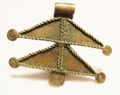 Large African Rustic Brass Pendant, Ethnic Jewelry Supplies, Tribal Pendant (W12)