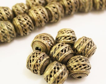 7 African Brass Beads, Ethnic Beads, Unique Tribal Jewelry Supplies (Z134)