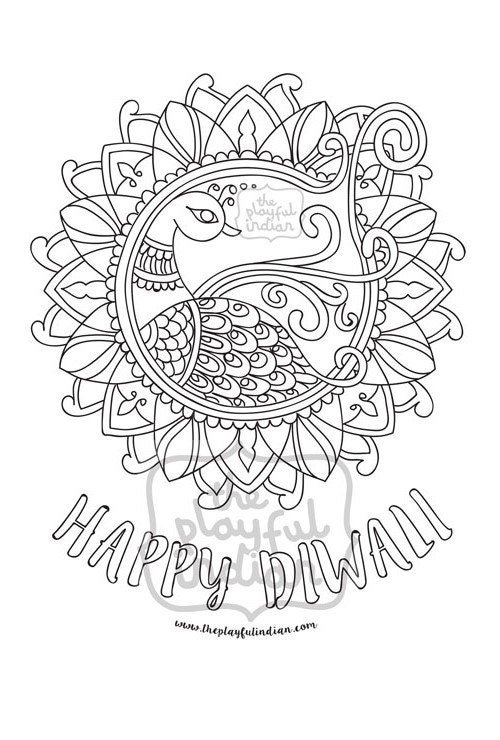 Rangoli Coloring Pages For Adults : Diwali rangoli peacock colouring coloring page instant