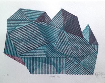 Shape XIII. original linocut monotype print