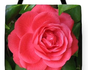Gift Idea Brilliant Red Camellia Tote Purse Bag