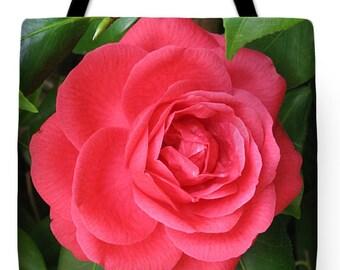 Mother's Day Gift Idea Brilliant Red Camellia Tote Purse Bag
