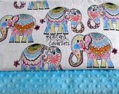 Elephant Minky Toddler Blanket Unisex Jaipur Elephants Valori Wells Jules & Indigo Choice of 4 Minky Colors--Made to Order