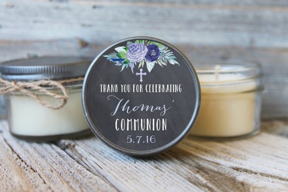 12 - 4 oz First Communion Favor//Baptism Favor//Soy Candle Favor//Personalized Communion Favor//Shower Favor//Chalkboard Favors//