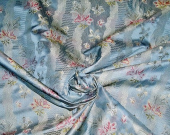 KRAVET COUTURE Lee Jofa Floral Garden SILK Damask Fabric 10 Yards Iridescent Blue Pink
