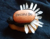 Handmade Incense Burner / Altar Piece - Blessed Be in Goldstone