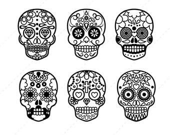 sugar skull clip art halloween digital clipart scrapbook supplies mexican day of - Mexican Halloween Skulls