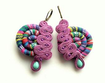 Masai - Purple  - Earrings - Soutache Jewelry - Hand Embroidered
