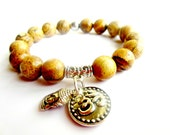 OM Yoga Bracelet. OM Bracelet. OM Jewelry. Buddha Bracelet. Beaded Bracelet. Jasper Bracelet. Yoga Jewelry. Mala Bracelet. Buddha Jewelry.