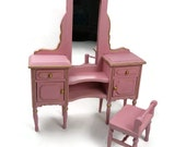 Dollhouse Miniature 12th scale pink vanity table