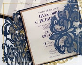 Laser cut wedding invitations, Blue Lace wedding invitations {Broadway design, New Spring Summer 2016 Collection}