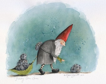 Petoskey Stone Gnome - 5 x 7 matted print (reproduction) by Snow Fairy Cottage.
