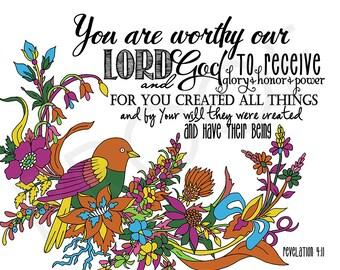 Scripture Art ~ Revelation 4:11 Mosaic