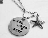 Wish Upon A Star Necklace, Starfish Necklace, Ocean Theme, Sea Quote Jewelry, Nautical Necklace, Beach Jewelry, Handmade Star Necklace