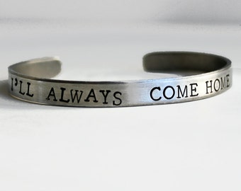 Heroes Bracelet, I'll Always Come Home, Gift for Wives of Army, Airforce, Marines, Navy, Police Officers, Military Support, Wife Gift