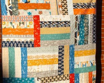 Twin Patchwork Quilt, Traditional Large Lap Quilt, Patchwork Blanket