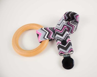 Pink/Black fannel Chevron pacifier clip