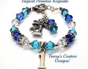 Darling 1ST BIRTHDAY PARADISE Swarovski Crystal Keepsake Bracelet