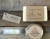 Honey and Lavender Gift Set - Natural Honey Soap, Honey Lip Balm, Calendula Lavender Balm, Teacher gift, holiday gift