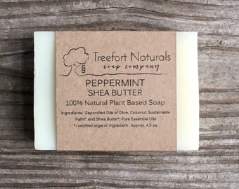 Peppermint Shea Butter Soap - Handmade soap, Cold Process, All Natural soap, vegan soap, essential oil soap