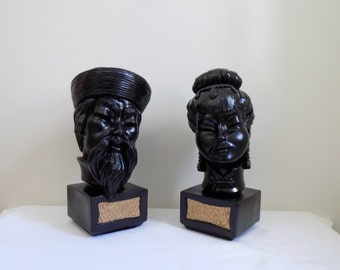 Vintage 1960 Asian Oriental Man Woman Bust Statues Head- Upcycled Renewed Mid Century Modern Regency Decor Accessories Bookends Accent Pair