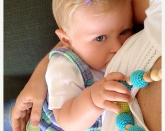 25% off Nursing necklace Eco-friendly Breastfeeding Necklace -Teething Toy - Juniper necklace - yellow, turquoise, green
