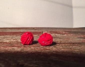 Vintage Red Beaded Knots Pierced Earrings