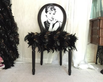 Black glossy French Louis XVI Accent Dining Chair upholstered in Black Leather and genuine feather fur and black and white face Custom made