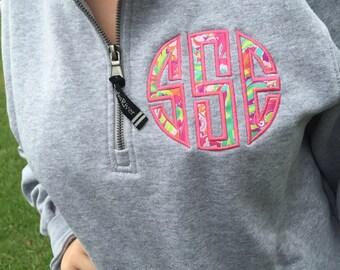 Preppy Quarter Zip Pullover Sweatshirt with Monogram Personalized Charles River Women's