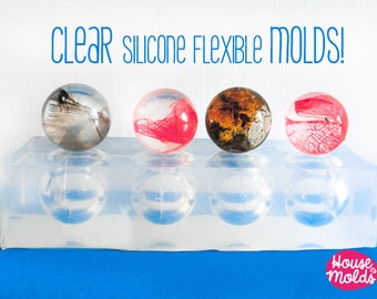 Multi Spheres 25 mm diameter Clear Mold,4 cavities to create super shiny Resin Orbs,25 mm diameter spheres Mould