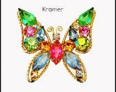 Kramer  Butterfly Brooch colorful rhinestones