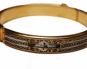 Damascene  Bangle  Bracelet Gold Silver and Black  Etched Enameling  floral  Shell inlay