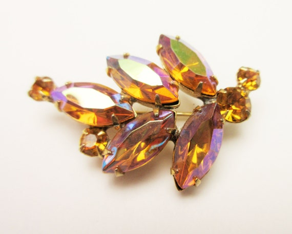 Rhinestone Brooch - Aurora Borealis Amber  Orange  Rhinestone -  mid century - Leaf pin