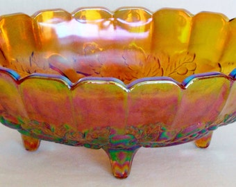 Vintage Indiana Glass Amber Carnival Glass Opalescent Fruit Bowl in the Harvest Grape Pattern, 1960's Indiana Glass, Vintage Harvest Grape,