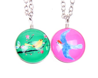 Set of 2 Necklaces two birds Double sided cabochon