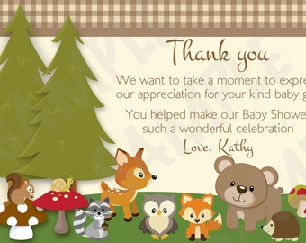 Woodland Friends Forest Animals Theme Baby Shower Thank you Card - Printable File