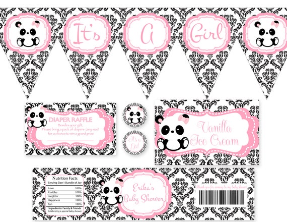 Its A Girl Panda Baby Shower Banner Only  Printable File