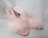 vintage FREDERICK'S of HOLLYWOOD MULES Pink Satin and Marabou boudoir slippers Size 8 Gs6d-200