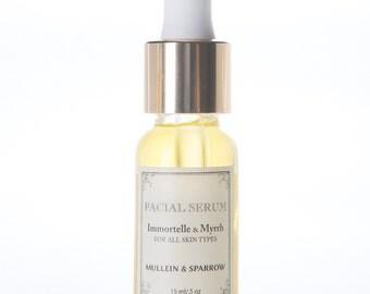 Immortelle & Myrrh Facial Serum - organic - handmade luxury - anti-aging - noncomedogenic - 0.25 oz - 0.5 oz - glass bottles - mother's day