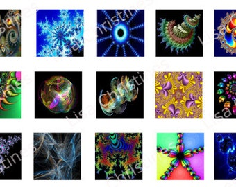 Fractals, Digital Collage, Instant Download, 1 inch, 1.5 inch, Circles, Squares / 33
