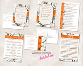 Wedding Bridal SET Instant Download TEMPLATES Just add your info and print Winter Camo camouflage shower invites, party games, I spy