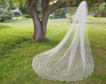 2 Tier Cathedral Blusher Veil Scalloped Edge