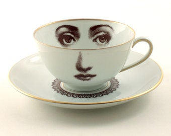 Altered Porcelain Cup Coffee Tea Saucer Woman Face Lace Collar Vintage White Brown Romantic whimsical
