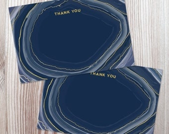 Printable Thank You Note Card PDF - Navy Agate