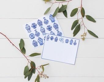 CUSTOM Monogram Blue Floral Vase Stationery chinoiserie