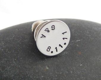 Personalized Tie Tack Custom Tie Pin Wedding Groom's Gift Best Man's Groomsmen Anniversary Custom Pin - Initials & Date