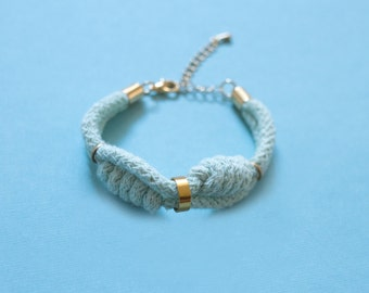 Cotton Rope Bracelet in Mint with Heaving Line Knots